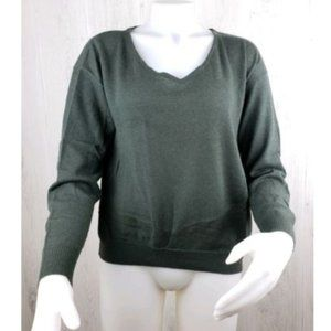 Brochu Walker V Neck Pullover Sweater Green Size M